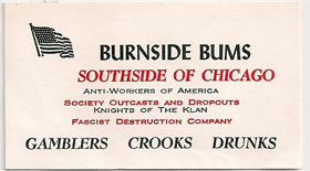 Burnside Bums South Side of Chicago business card