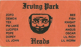 Irving Park Heads club card
