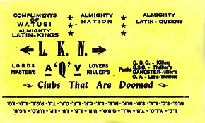 Kedzie and Armitage Latin King leader card - Watusi - late 1970s