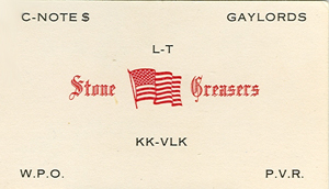 Stone Greaser card listing C-Notes Gaylords Playboys from the seventies